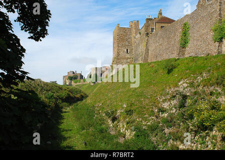 Exterior view of Dover Castle, Kent, England, United Kingdom. Dover Castle is the largest castle in England - Stock Photo