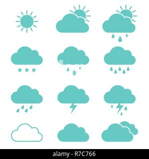 Set of clouds weather icons flat style in vector - Stock Photo