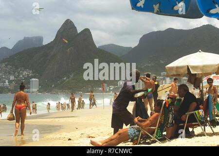 Rio de Janeiro, Brazil. November 17, 2018. Ipanema Beach on the Sunny Summer Day. - Stock Photo