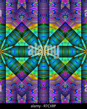 Vibrant multi-colored and bold abstract geometric artwork. - Stock Photo