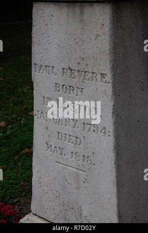 Paul Revere's grave in the historic Granary Burial Ground on the Freedom Trail in Boston, MA, USA - Stock Photo