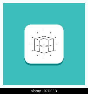 Round Button for box, labyrinth, puzzle, solution, cube Line icon Turquoise Background - Stock Photo