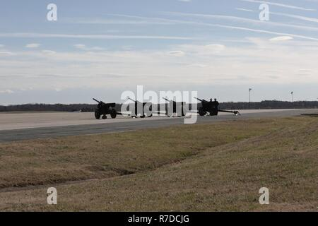 Cannons sit on display on the flight line at Joint Base Andrews, Maryland, Dec. 03, 2018. Military and civilian personnel assigned to Joint Task Force-National Capital Region provided ceremonial and civil affairs support during President George H.W. Bush's state funeral.  (DoD