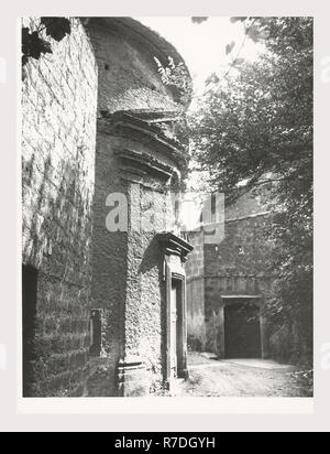 Lazio Viterbo Vignanello S. Maria delle Lacrime, this is my Italy, the italian country of visual history, Exterior views of Romanesque church apparently located outside town - Stock Photo