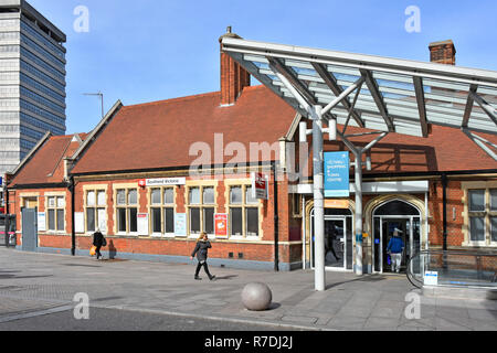 Façade entrance to Southend Victoria railway station passenger access to public transport Greater Anglia train routes to London from  Essex England UK - Stock Photo