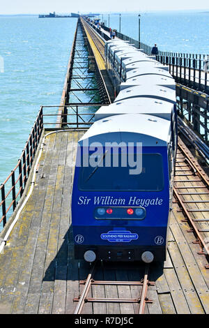 Famous River Thames Estuary Southend Pier public transport railway  train journey from seaside resort town shore station to pier head Essex England UK - Stock Photo