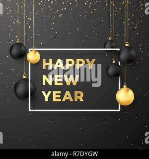 Happy New Year Greeting Card in Golden and Black Colors. Black and Golden Christmas Balls and Festive Gold Text in White Frame. Vector illustration is - Stock Photo
