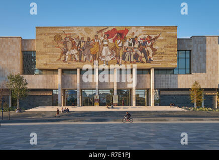 The albanian mosaic on a building in the main square of the city of Tirana - Stock Photo