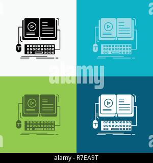 book, ebook, interactive, mobile, video Icon Over Various Background. glyph style design, designed for web and app. Eps 10 vector illustration - Stock Photo