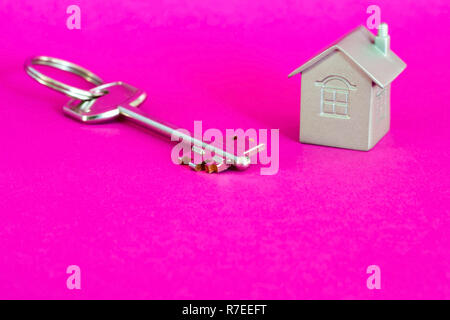 Metal key lock with imitation of the house in the form of a metal layout on a pink background with a purple hue. The concept of the offer of sale of r