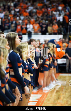 Syracuse, NY, USA. 8th Dec, 2018. Cheerleaders fill the court during pre-game events. The Syracuse Orange defeated the Georgetown Hoyas 72-71 at the Carrier Dome in Syracuse, NY. Photo by Alan Schwartz/Cal Sport Media/Alamy Live News - Stock Photo