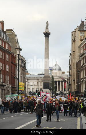 London, UK, 9th December 2018. A demonstration that organisers described as being for all anti-fascists, regardless of their positions on leave/remain on Brexit, opposes 'Tommy Robinson, fascism and racism.   The march from the BBC, Portland Place to Whitehall is a counter protest against one called by Robinson and UKIP. Roland Ravenhill / Alamy Live News - Stock Photo