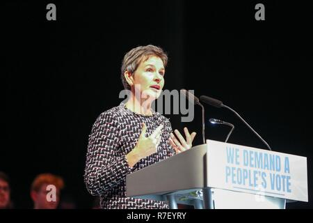 London, UK. 9th Dec, 2018. MP Mary Creagh is seen speaking during the rally.Hundreds of people attend the Best for Britain and the People's Vote campaign's rally at Excel Centre in East London on the eve of the week in which Parliament will vote on Prime Minister Theresa May's Brexit withdrawal deal. Credit: Dinendra Haria/SOPA Images/ZUMA Wire/Alamy Live News - Stock Photo