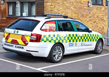 Healthcare awareness poster advert promotion saving lives from Sepsis NHS parked doctors car window in National Health service hospital  England UK - Stock Photo