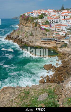 Seaside town Azenhas do Mar, Sintra, Lisbon Coast, Portugal - Stock Photo