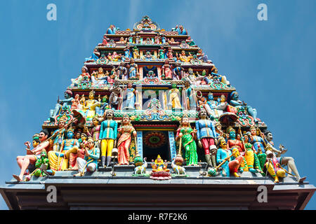 Hindu deities at Sri Mariamman or Mother Goddess Temple, Oldest Hindu Place of Worship, Chinatown, Singapore - Stock Photo