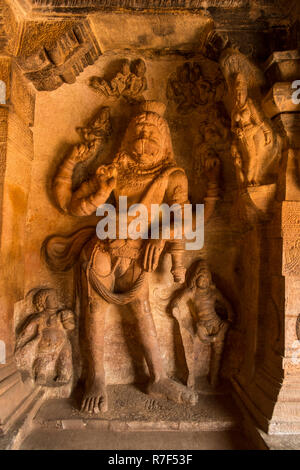 Narsimha in Cave 3 of the Badami Cave Temples in Badami in Karnataka, India. - Stock Photo