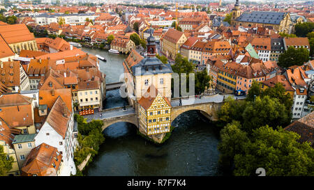 Old town hall or Altes Rathaus, Bamberg, Bavaria, Germany - Stock Photo