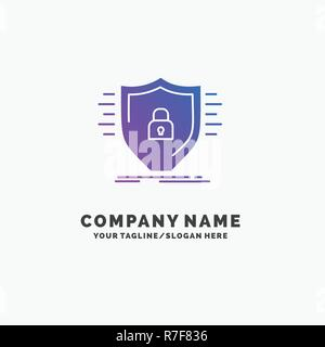 Defence, firewall, protection, safety, shield Purple Business Logo Template. Place for Tagline.