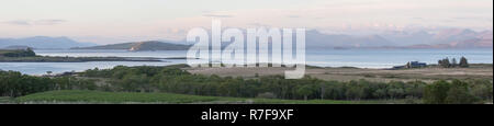 Panorama format. Views from Auchnacraig over Grasspoint and towards Oban on the mainland, Grasspoint, Mull, Isle of Mull, Argyll and Bute, Scotland - Stock Photo