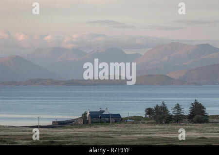 Landscape format. Views from Auchnacraig over Grasspoint and towards Oban on the mainland, Grasspoint, Mull, Isle of Mull, Argyll and Bute, Scotland - Stock Photo