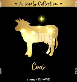 Isolated vintage golden and royal emblem of farm animal. Fresh and tasty Cow meat. Butchery products market. Golden silhouette with lights and lettering. Concept template for branding - Stock Photo