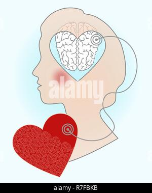 Silhouette of a girl's head, an illustration of the relationship of the brain and heart. Signals from the soul to the mind. - Stock Photo