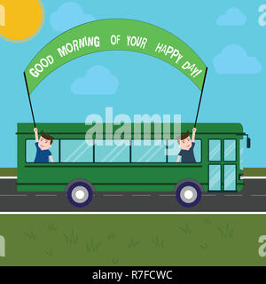 Handwriting text writing Good Morning Of Your Happy Day. Concept meaning Greeting best wishes happiness in life Two Kids Inside School Bus Holding Out - Stock Photo