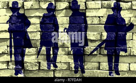 Silhouette of a gentleman in a hat and a coat with an umbrella standing in different poses. Virtual graffiti. Image, drawn on a photo of a brick wall. - Stock Photo