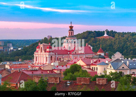 Old town at sunset, Vilnius, Lithuania - Stock Photo