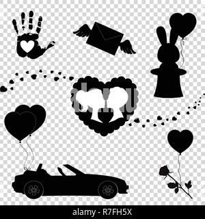 Happy Valentines Day Black Icons Silhouette Set Isolated On White