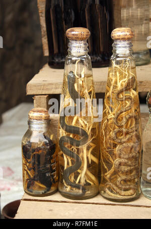 Bottles with traditional laotian alcohol with snakes and scorpions, Xang Hai village, Luang Prabang province, Laos - Stock Photo