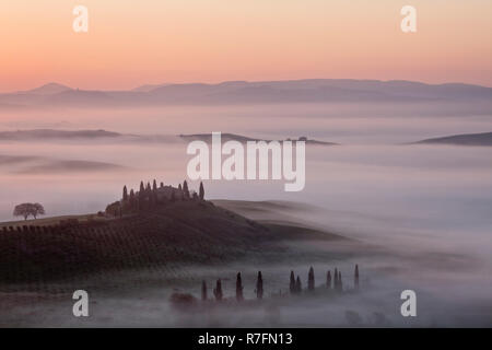 View over The Belvedere at dawn, San Quirico d'Orcia, Val d'Orcia, Tuscany, Italy - Stock Photo