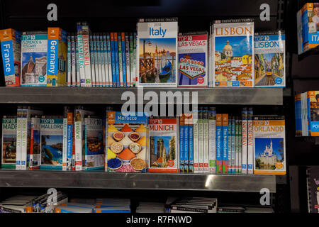 Travel and Holiday guides and books in WHSmith bookshop, UK - Stock Photo