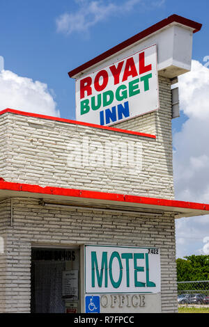 Miami Florida Biscayne Boulevard Historic District Royal Budget Inn motel accommodation sign low end cheap office entrance disab - Stock Photo