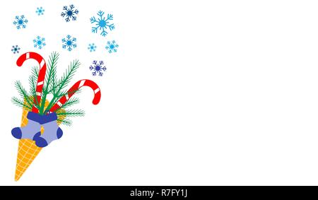 Vector illustration with ice cream cone, candy canes, snowflakes, sprig of Christmas trees, christmas socks. Design for party card, banner, poster or  - Stock Photo