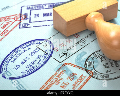 Passport with visa stamps. Travel or turism concept background. 3d illustration - Stock Photo