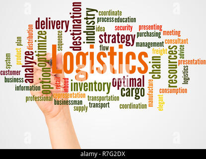 Logistics word cloud and hand with marker concept on white background. - Stock Photo