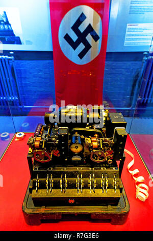 Lorenz SZ40 cipher attachment and Nazi flag at Bletchley Park Museum of Code and Cyphers - Stock Photo