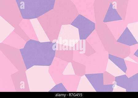 Pink mosaic of abstract geometrical shapes with Cameo Pink, Dark Lavender, Cyclamen, Pale Red-Violet colors, watercolor paper texture - Stock Photo