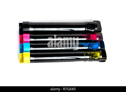 Toner cartridge set for color laser printer. Equipment for printingon white background. - Stock Photo
