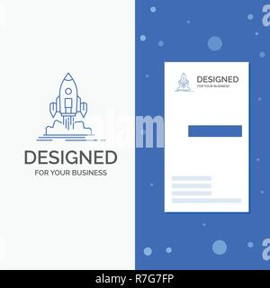 Business Logo for Launch, mission, shuttle, startup, publish. Vertical Blue Business / Visiting Card template - Stock Photo