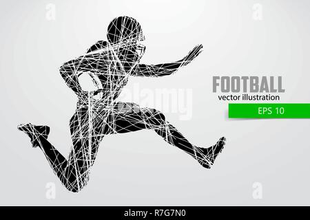 Silhouette of a football player. Vector illustration - Stock Photo