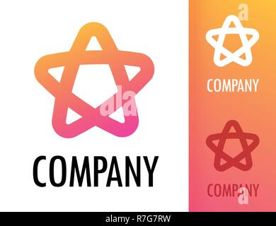 Colorful Star with round corners orange pink color - Vector logo emblem illustration for modern business energy company. - Stock Photo