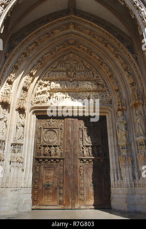 details of the door of the church Saint-Maclou, in Rouen, Normandy - Stock Photo