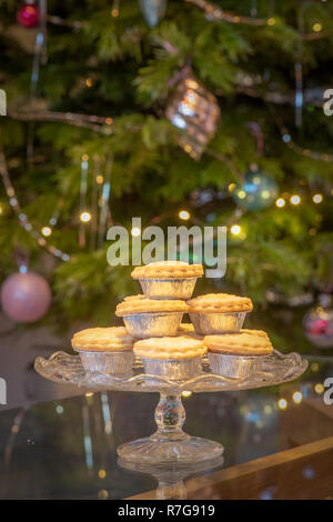 Platter of mince pies in silver foil wrappers in fron of Christmas tree - Stock Photo