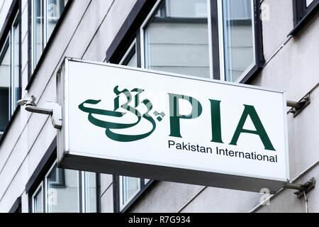Copenhagen, Denmark, October 21, 2018: Pakistan international airlines logo on a wall. PIA is the national flag carrier of Pakistan - Stock Photo