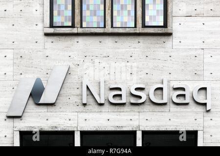 Copenhagen, Denmark, October 21, 2018: Building of Nasdaq stock exchange in Copenhagen, Denmark - Stock Photo