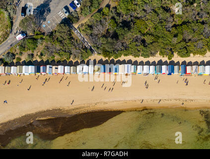 Aerial top down view of Brighton Bathing Boxes in Melbourne - Stock Photo