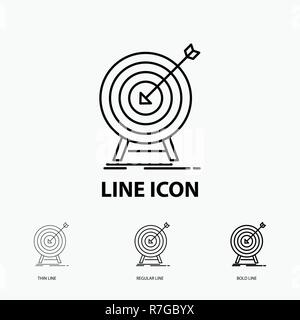 goal, hit, market, success, target Icon in Thin, Regular and Bold Line Style. Vector illustration - Stock Photo